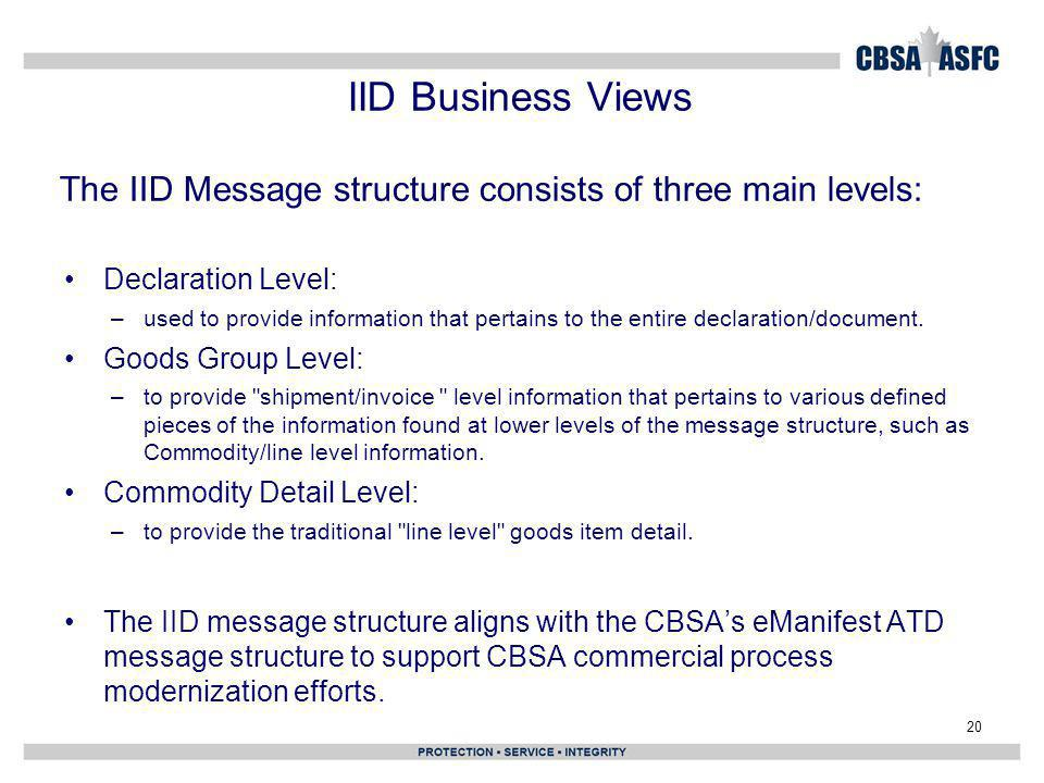 IID Business Views The IID Message structure consists of three main levels: Declaration Level: