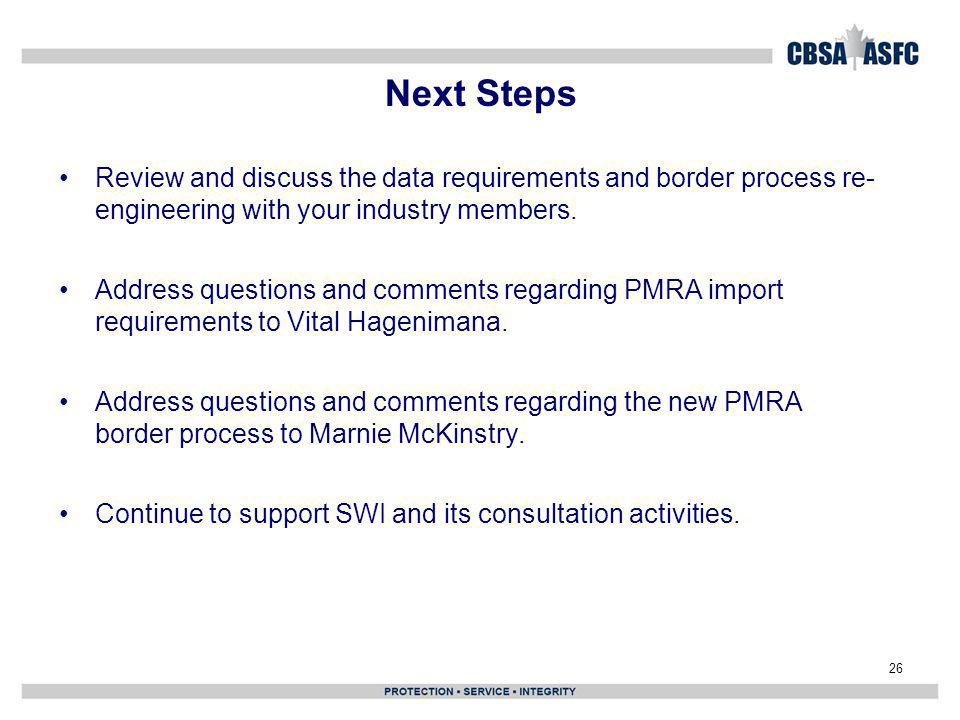 Next Steps Review and discuss the data requirements and border process re- engineering with your industry members.