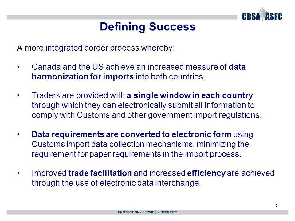 Defining Success A more integrated border process whereby:
