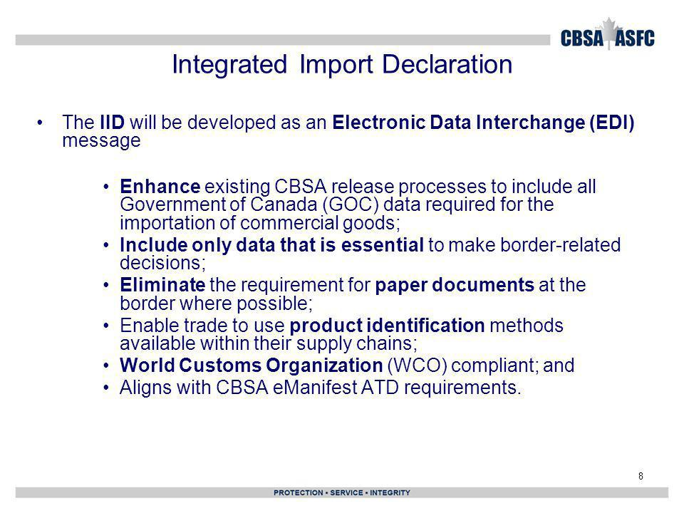 Integrated Import Declaration
