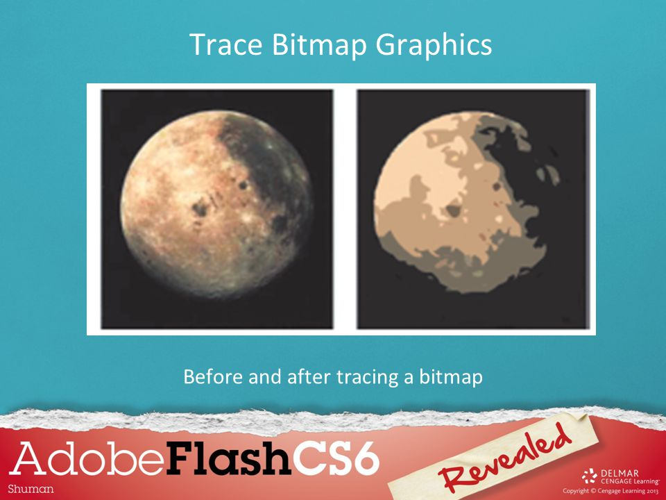 Before and after tracing a bitmap