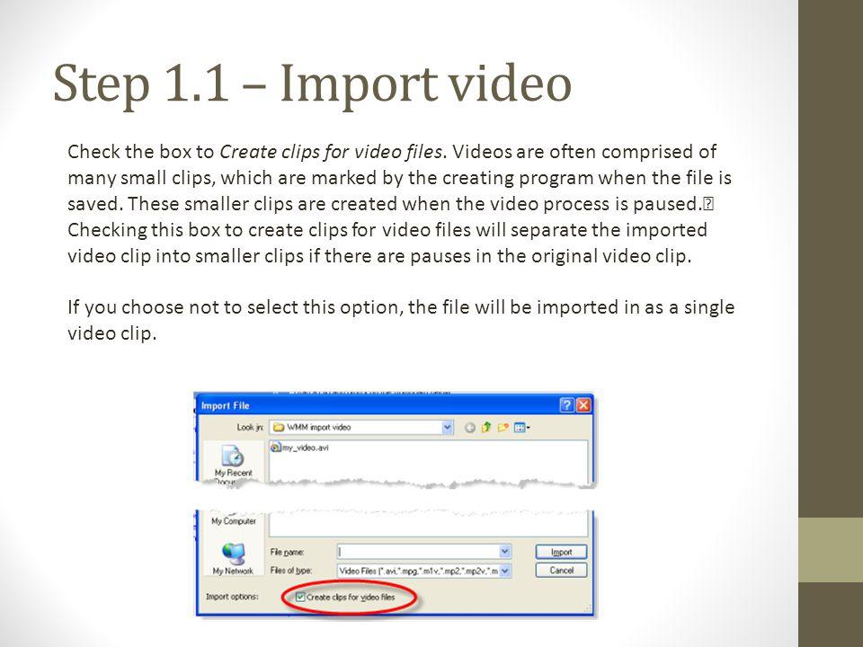 Step 1.1 – Import video