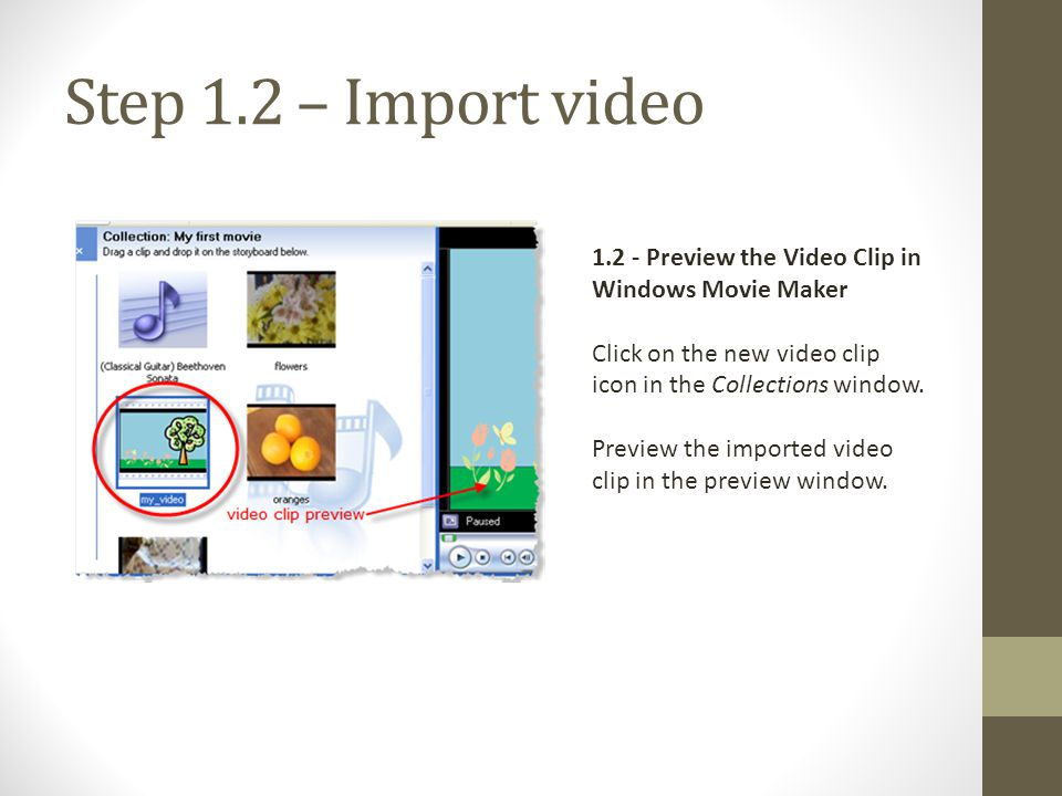 Step 1.2 – Import video 1.2 - Preview the Video Clip in Windows Movie Maker. Click on the new video clip icon in the Collections window.