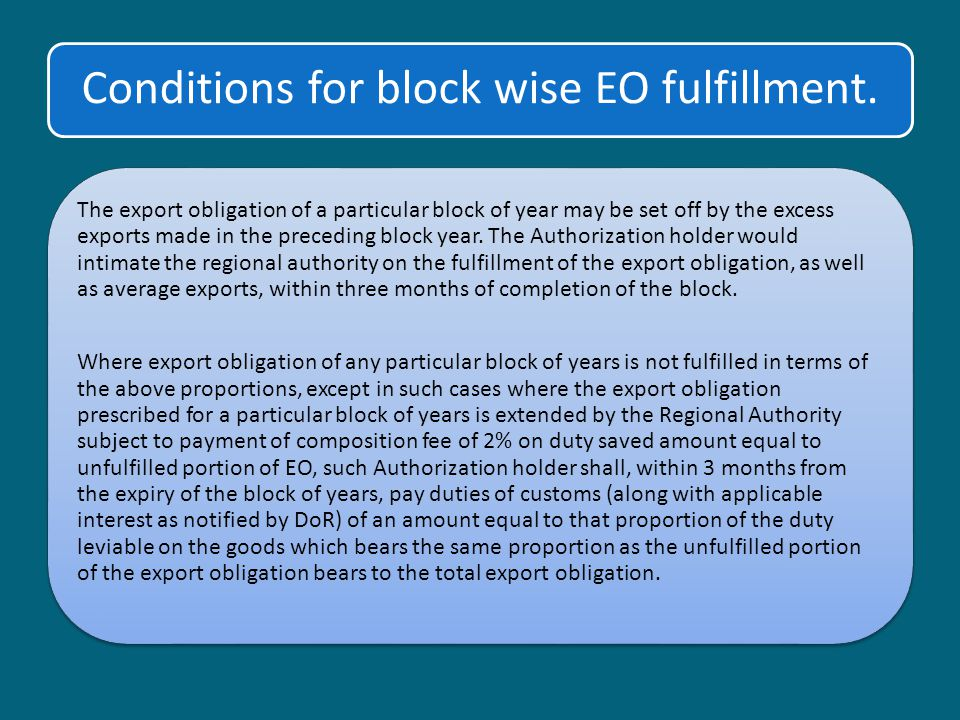 Conditions for block wise EO fulfillment.