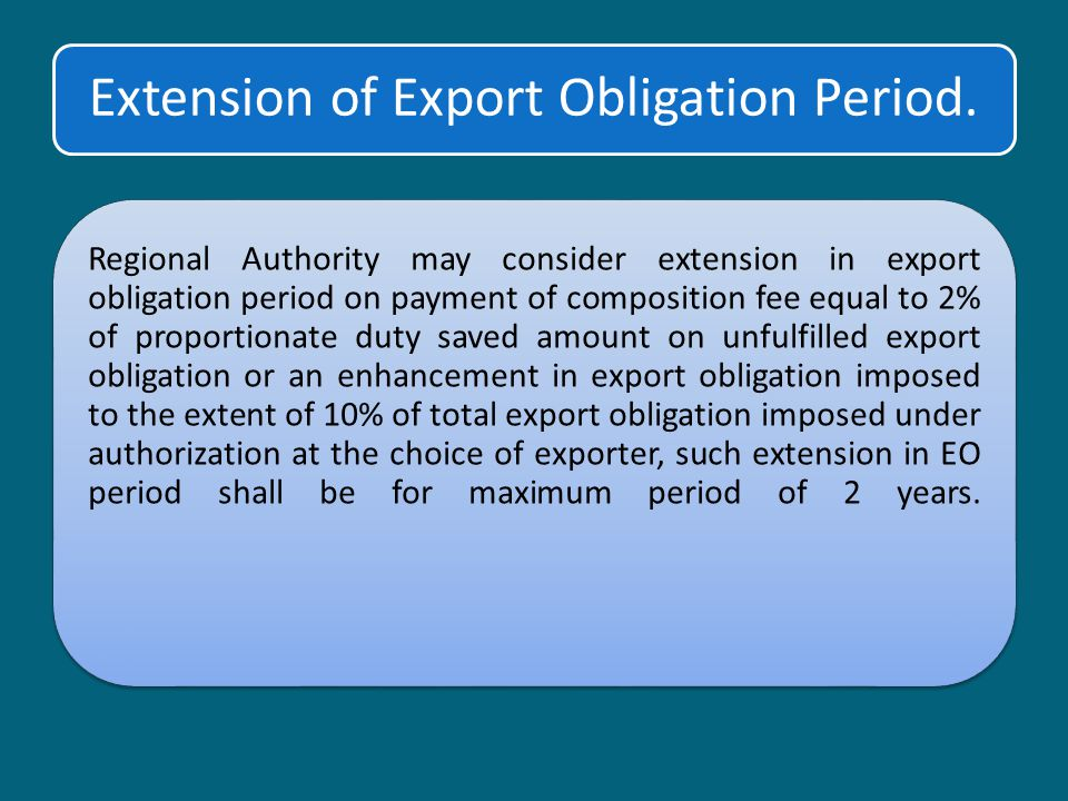 Extension of Export Obligation Period.
