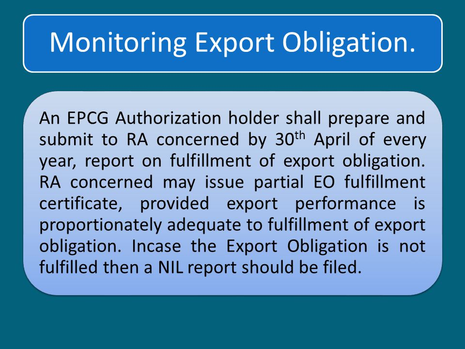 Monitoring Export Obligation.