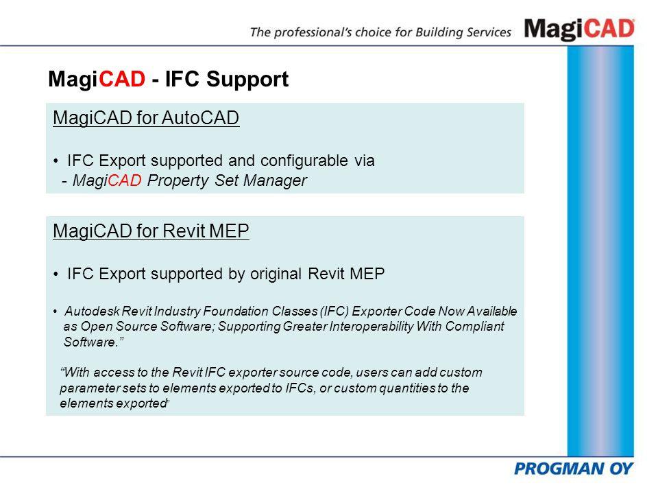 MagiCAD - IFC Support MagiCAD for AutoCAD MagiCAD for Revit MEP