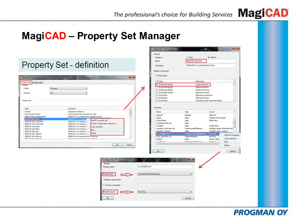 MagiCAD – Property Set Manager