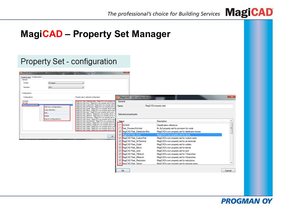 MagiCAD – Property Set Manager