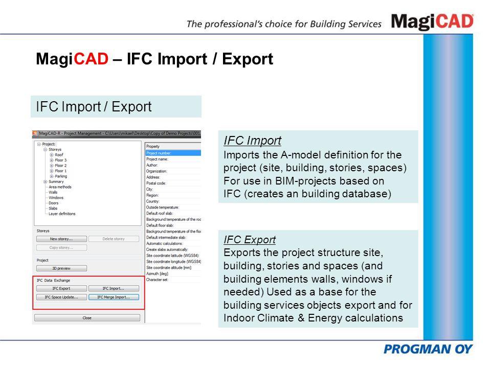MagiCAD – IFC Import / Export