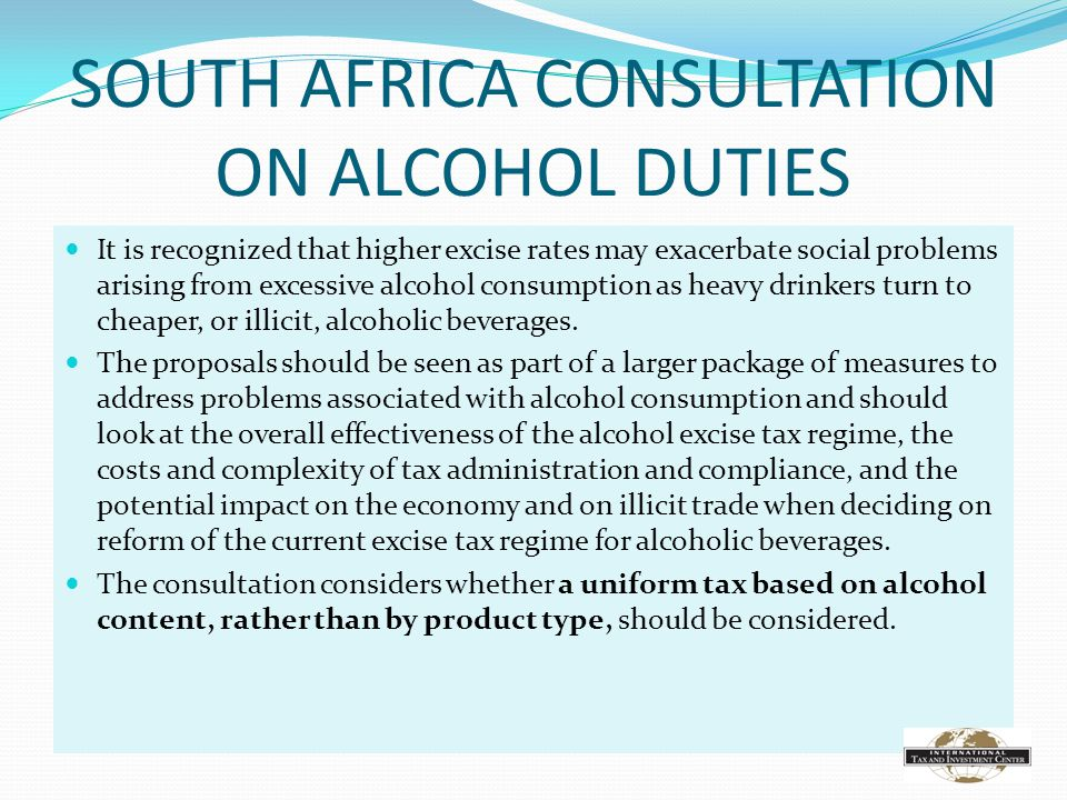 SOUTH AFRICA CONSULTATION ON ALCOHOL DUTIES