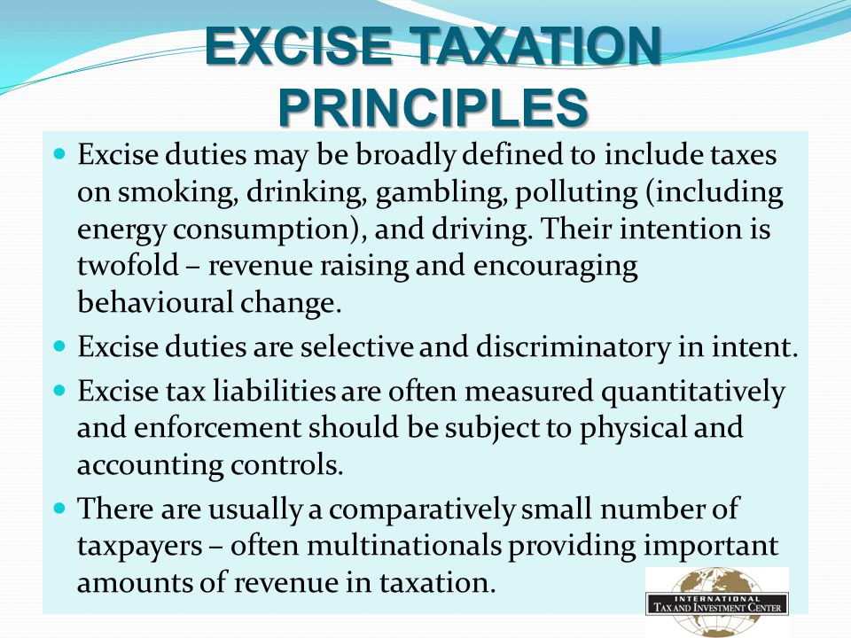EXCISE TAXATION PRINCIPLES