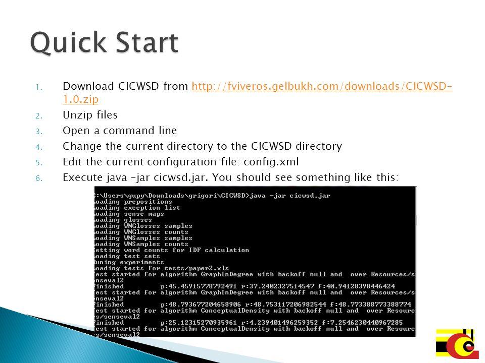 Quick Start Download CICWSD from http://fviveros.gelbukh.com/downloads/CICWSD- 1.0.zip. Unzip files.
