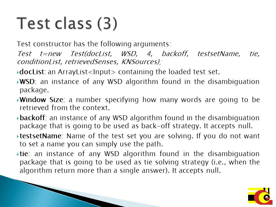 Test class (3) Test constructor has the following arguments: