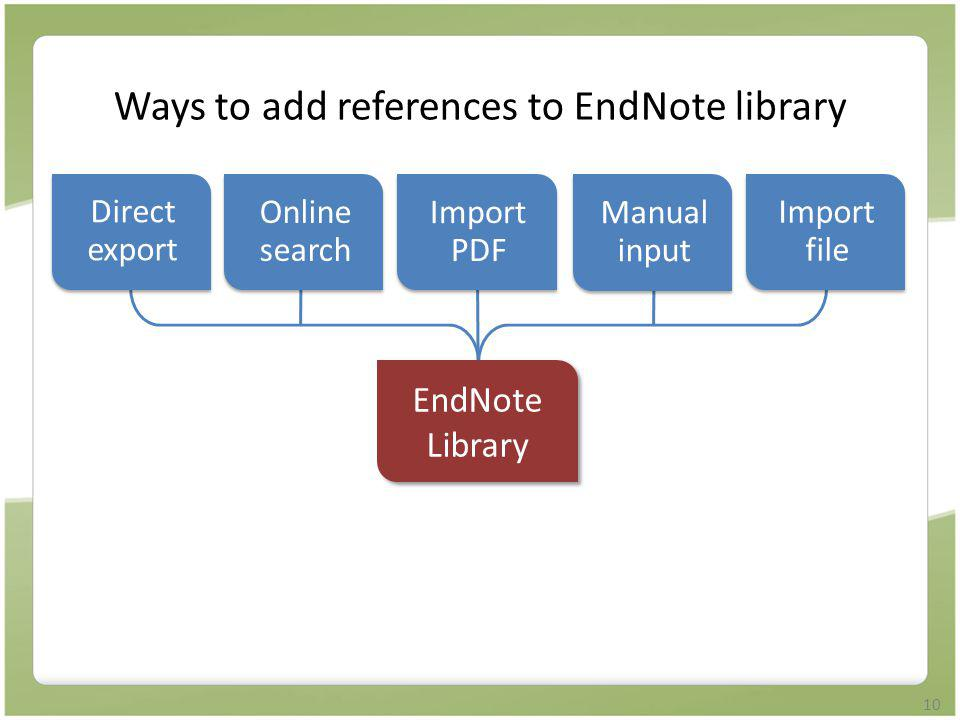 Ways to add references to EndNote library