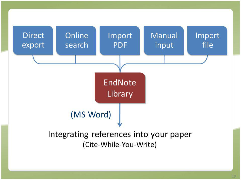 Integrating references into your paper (Cite-While-You-Write)