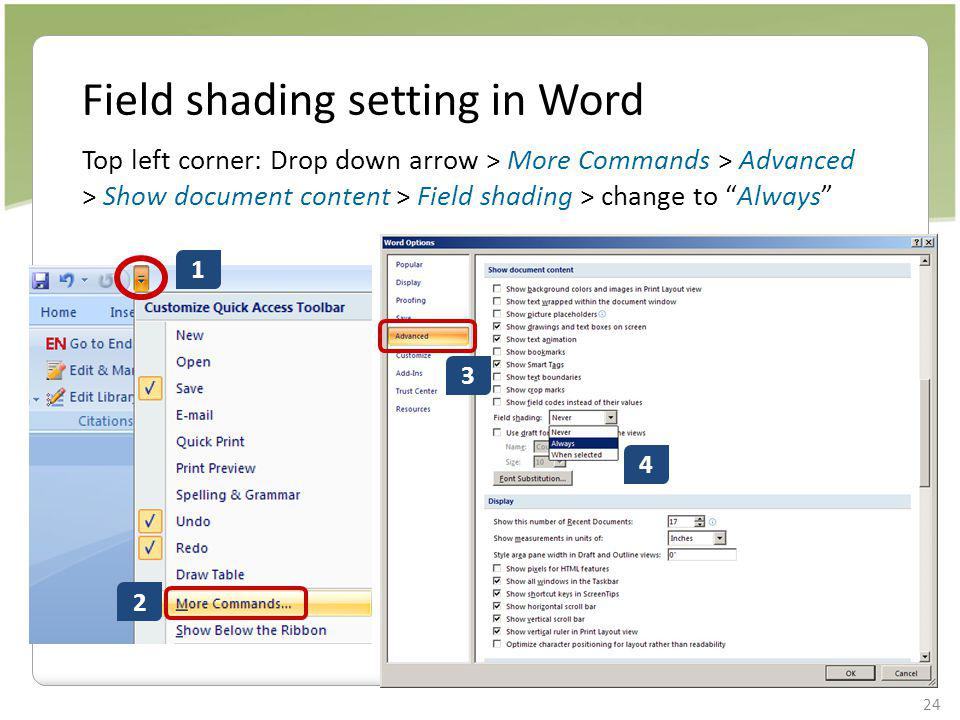 Field shading setting in Word