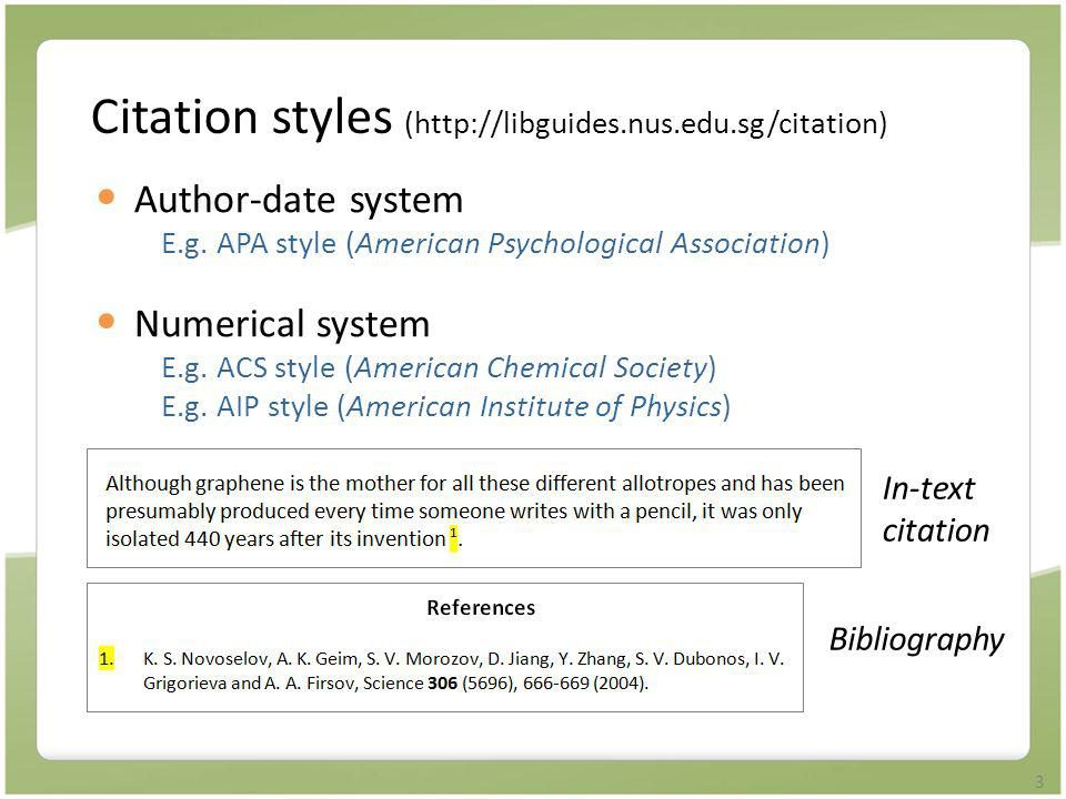 Citation styles (http://libguides.nus.edu.sg/citation)