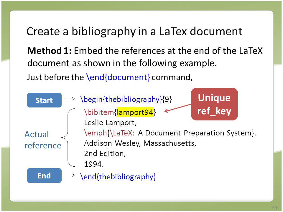 Create a bibliography in a LaTex document