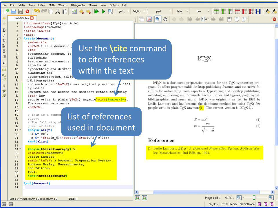 Use the \cite command to cite references within the text