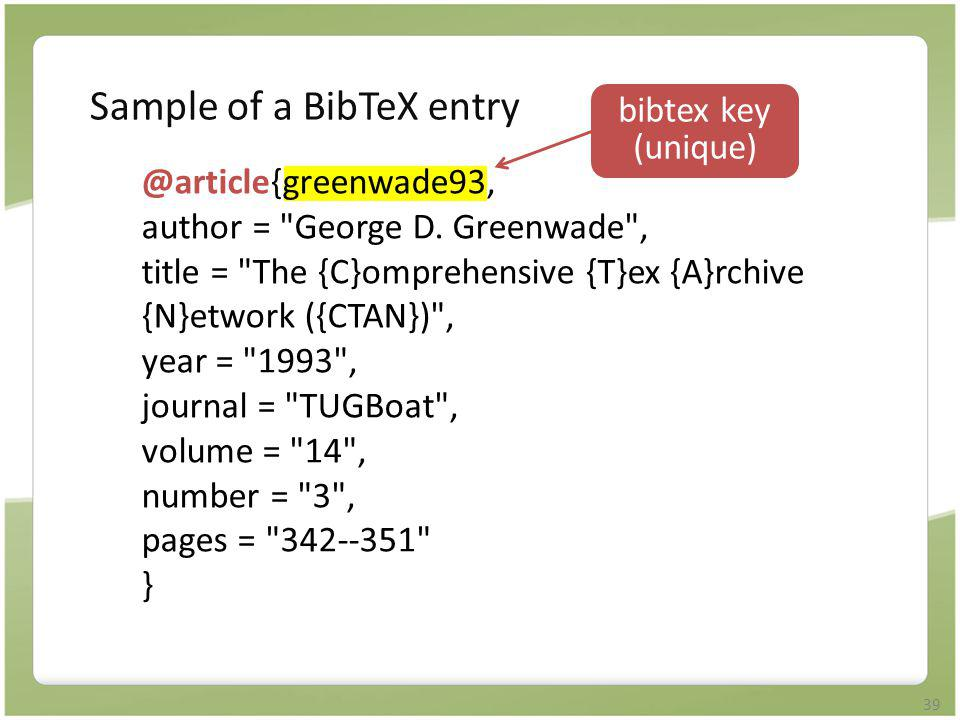 Sample of a BibTeX entry