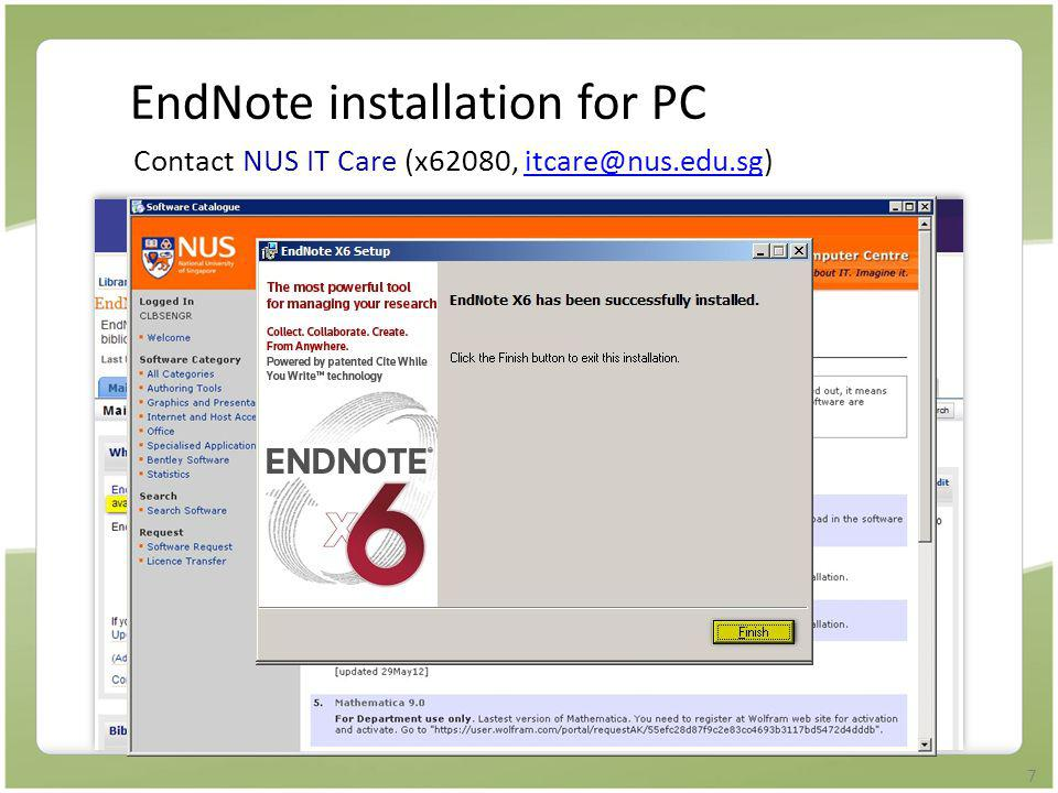 EndNote installation for PC