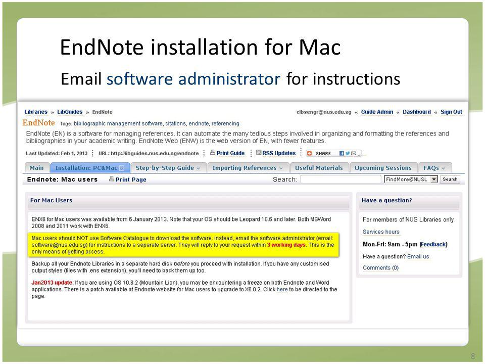 EndNote installation for Mac