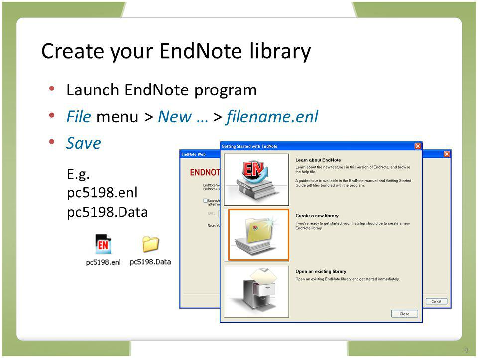 Create your EndNote library