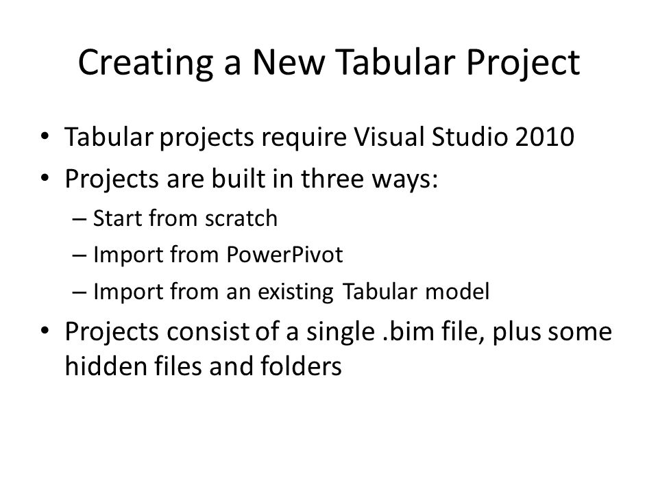 Creating a New Tabular Project