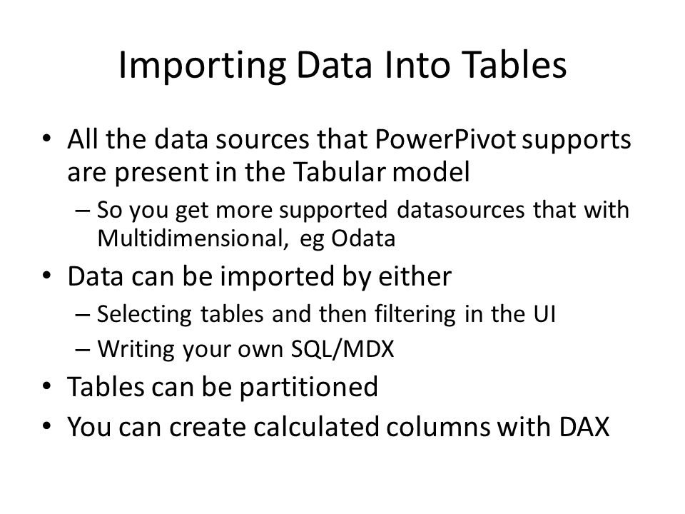 Importing Data Into Tables