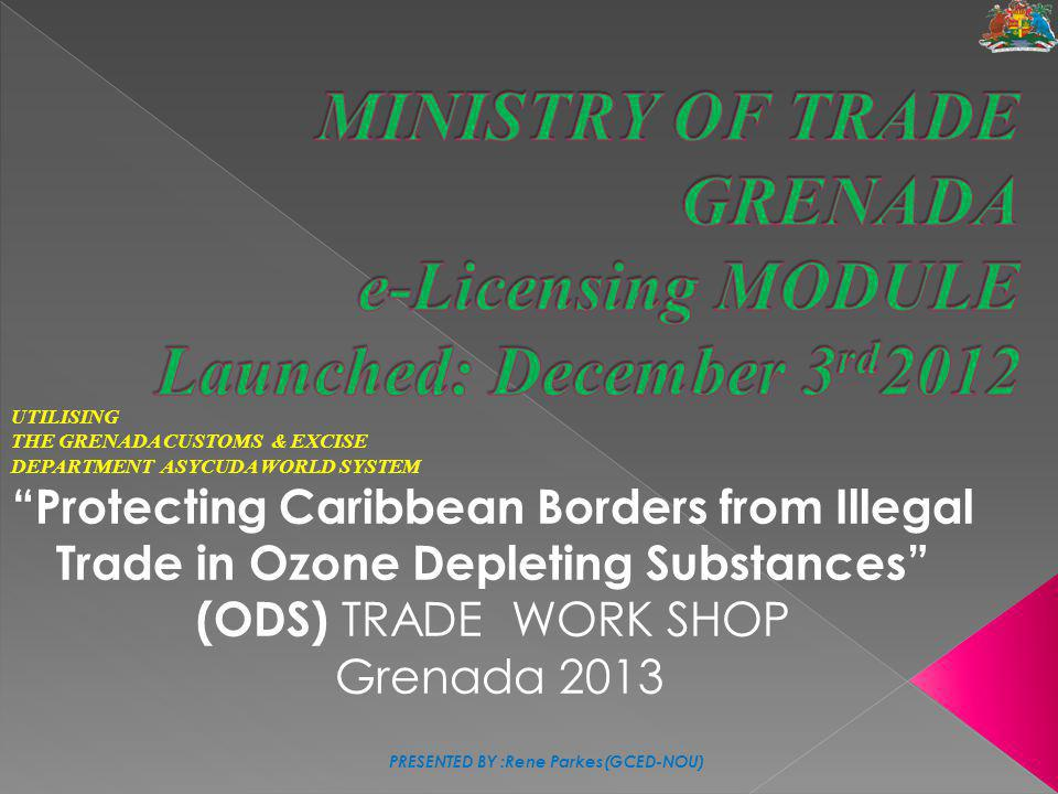 MINISTRY OF TRADE GRENADA e-Licensing MODULE Launched: December 3rd2012