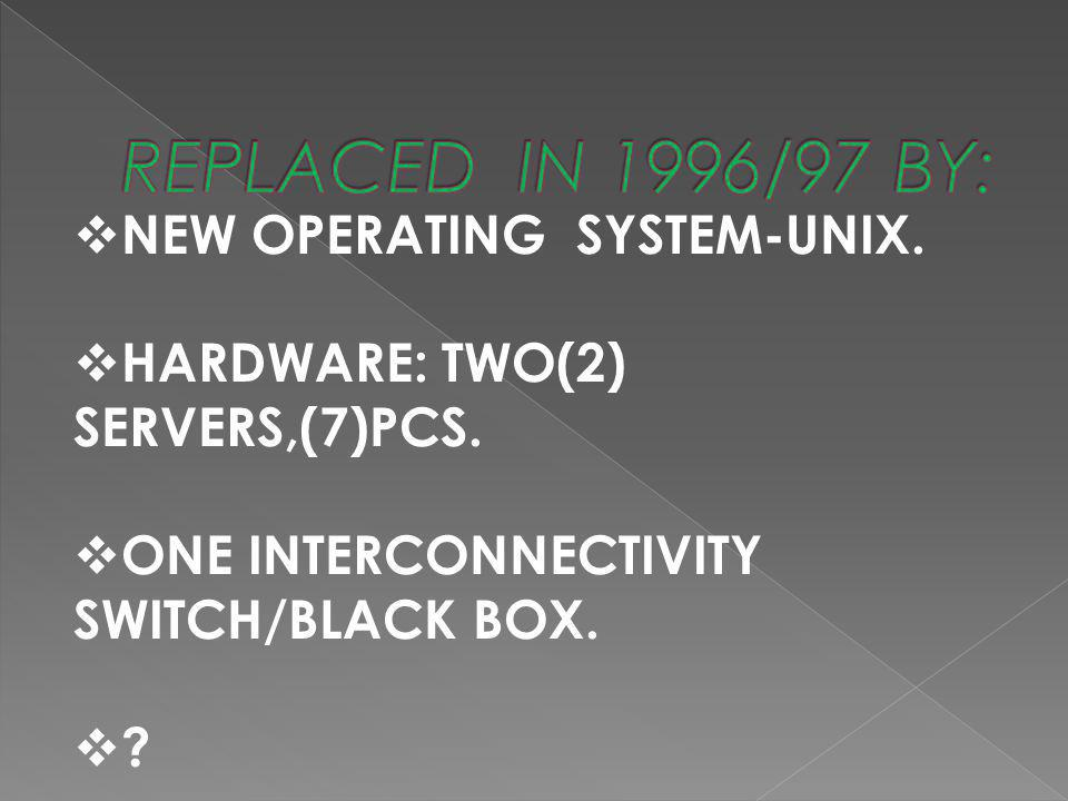 REPLACED IN 1996/97 BY: NEW OPERATING SYSTEM-UNIX.