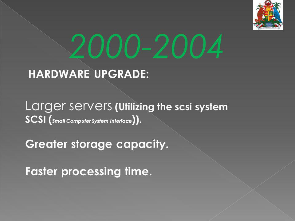 2000-2004 HARDWARE UPGRADE: Larger servers (Utilizing the scsi system SCSI (Small Computer System Interface)).