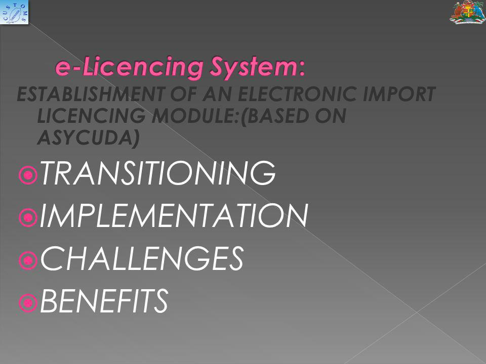 TRANSITIONING IMPLEMENTATION CHALLENGES BENEFITS e-Licencing System: