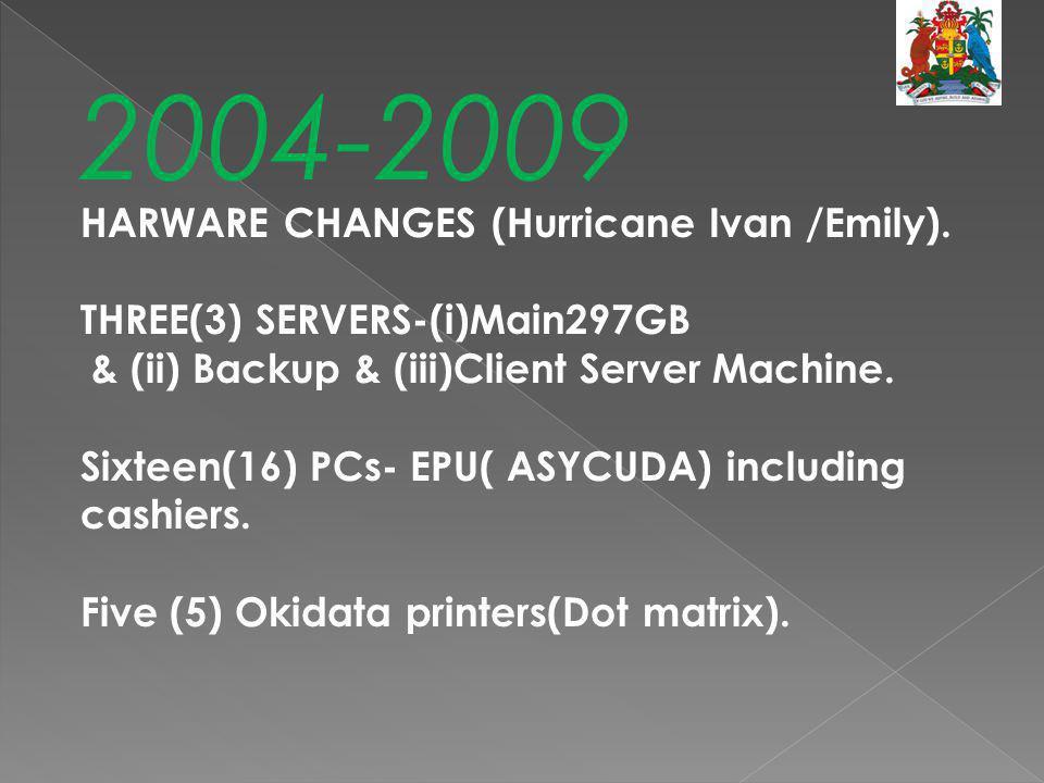 2004-2009 HARWARE CHANGES (Hurricane Ivan /Emily).