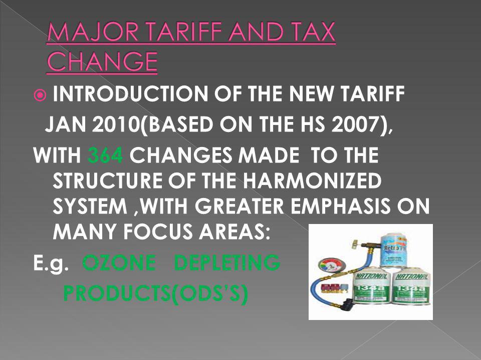 MAJOR TARIFF AND TAX CHANGE