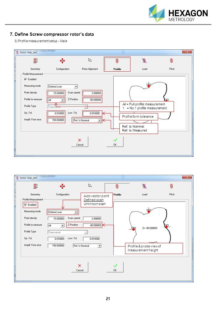 7. Define Screw compressor rotor's data