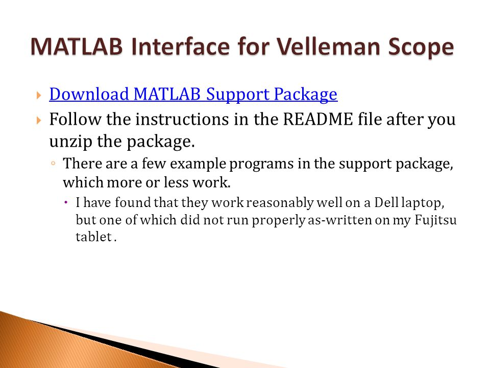 MATLAB Interface for Velleman Scope