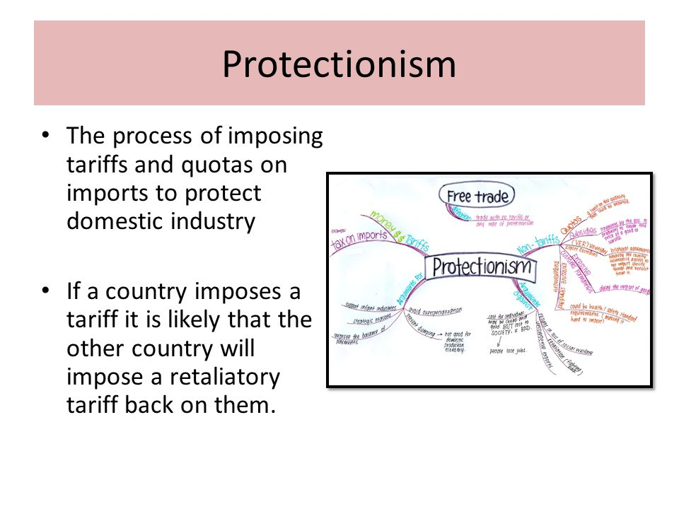 Protectionism The process of imposing tariffs and quotas on imports to protect domestic industry.