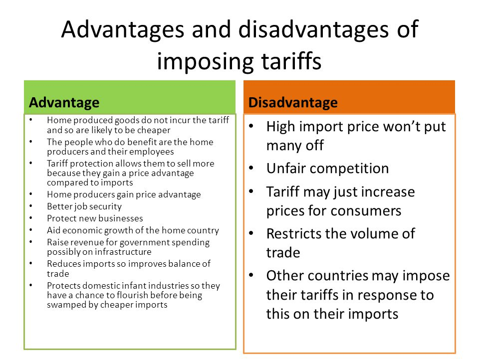 Advantages and disadvantages of imposing tariffs