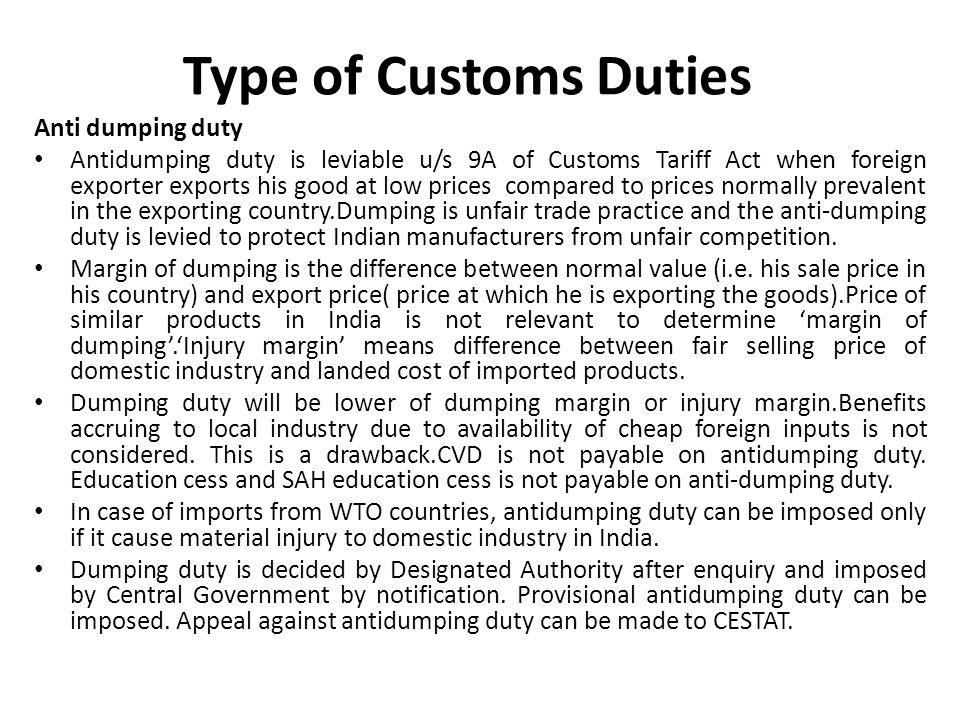 Type of Customs Duties Anti dumping duty