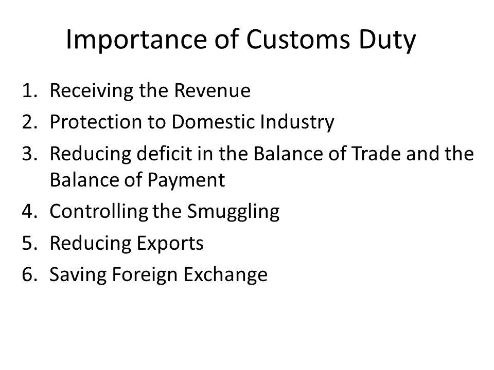 Importance of Customs Duty