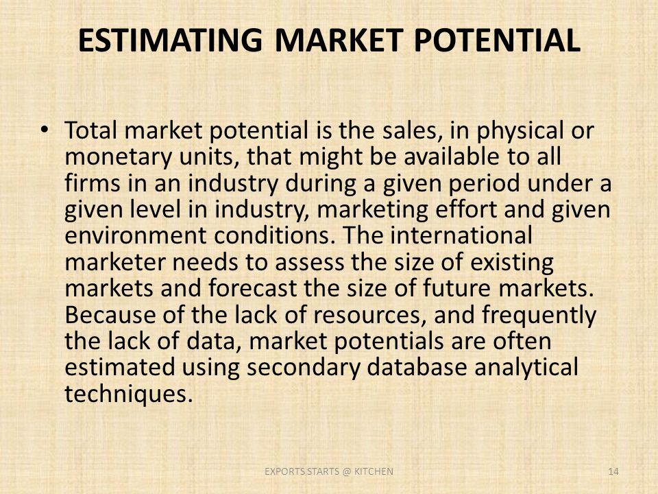 ESTIMATING MARKET POTENTIAL