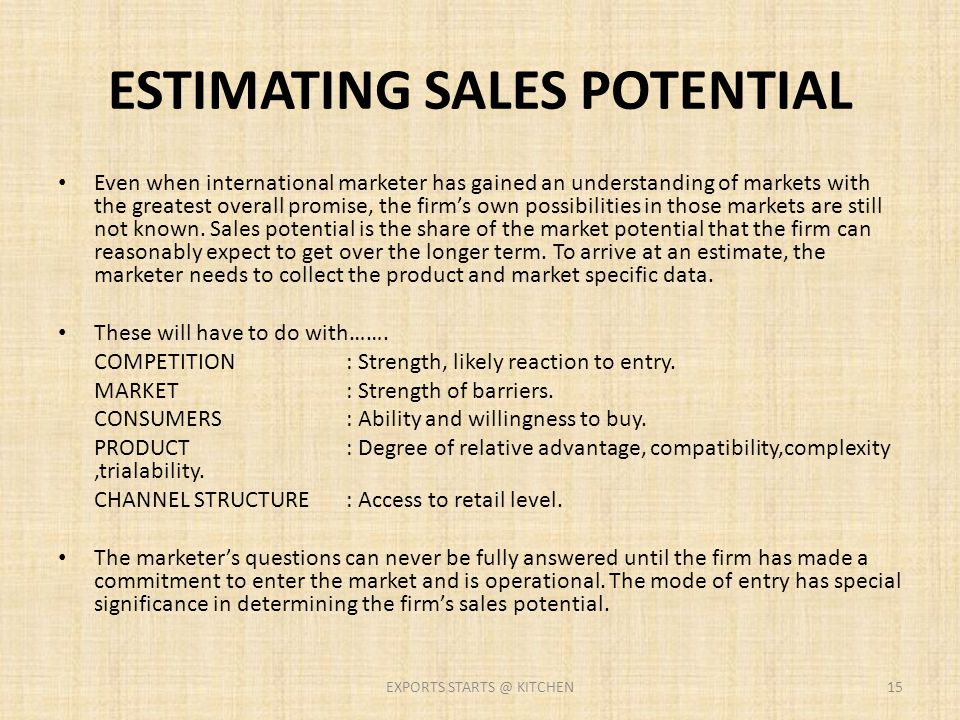 ESTIMATING SALES POTENTIAL