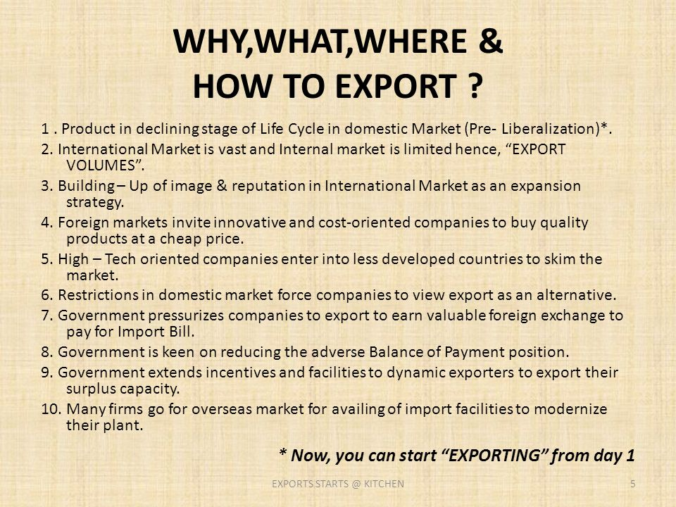 WHY,WHAT,WHERE & HOW TO EXPORT