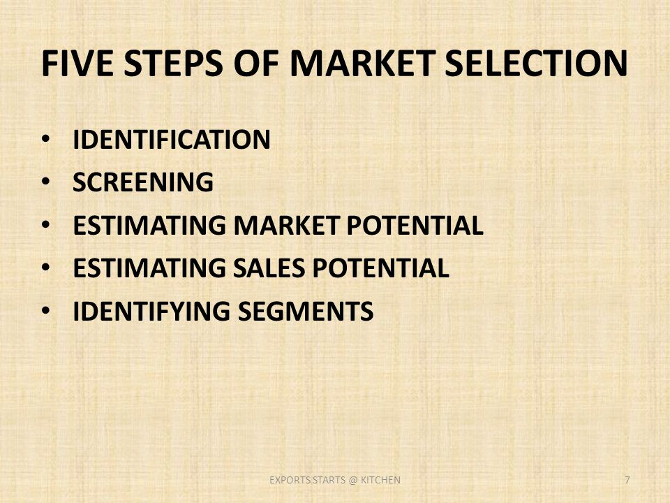FIVE STEPS OF MARKET SELECTION