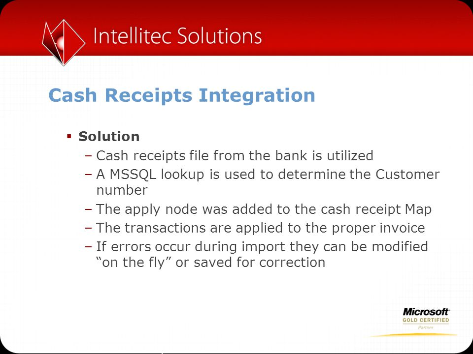 Cash Receipts Integration