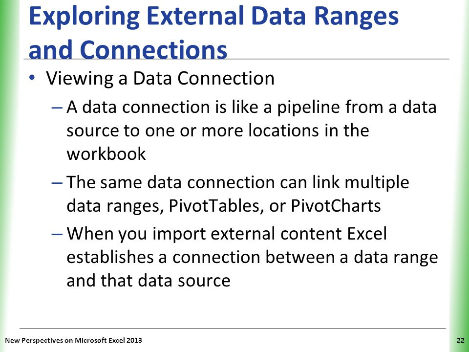 Exploring External Data Ranges and Connections