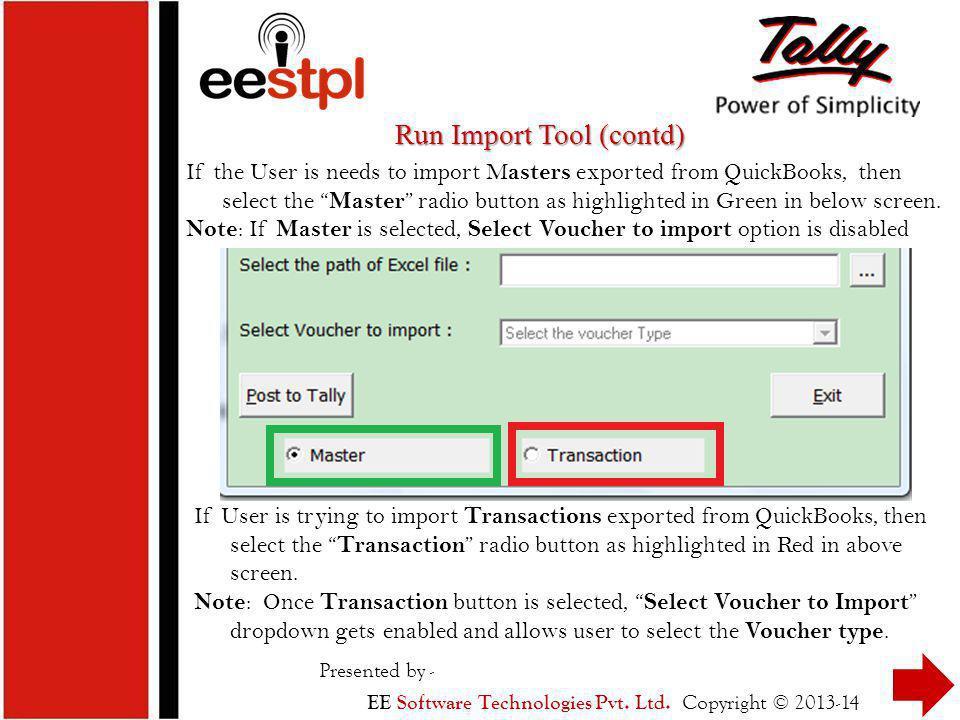 Run Import Tool (contd)