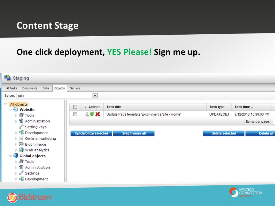 Content Stage One click deployment, YES Please! Sign me up.